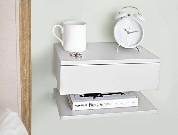 Solid Beech Bedside Table Attaches To The Wall Maximise E Use In Small Bedrooms One Drawer And Shelf Perfect Fit A Lamp Book