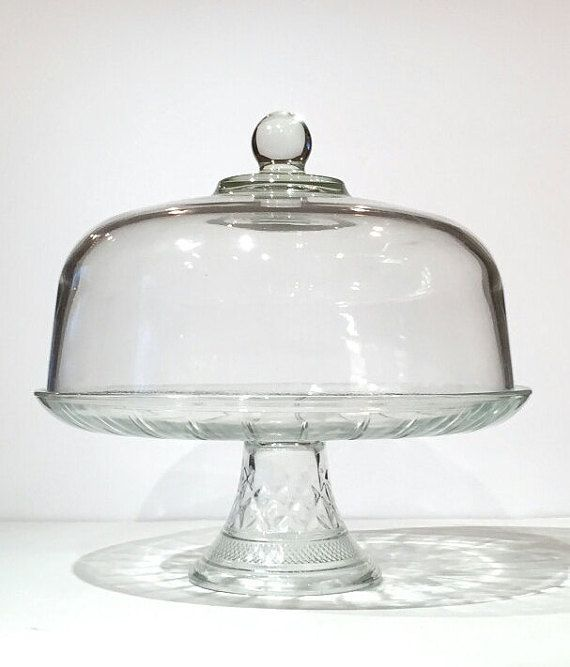 Lovely 12 Pressed Glass Cake Stand with Dome Lid Cake stand plate has diamond point detailing & Glass Domed Lid Cake Stand Vintage Glass Cake Stand Pedestal 12 ...