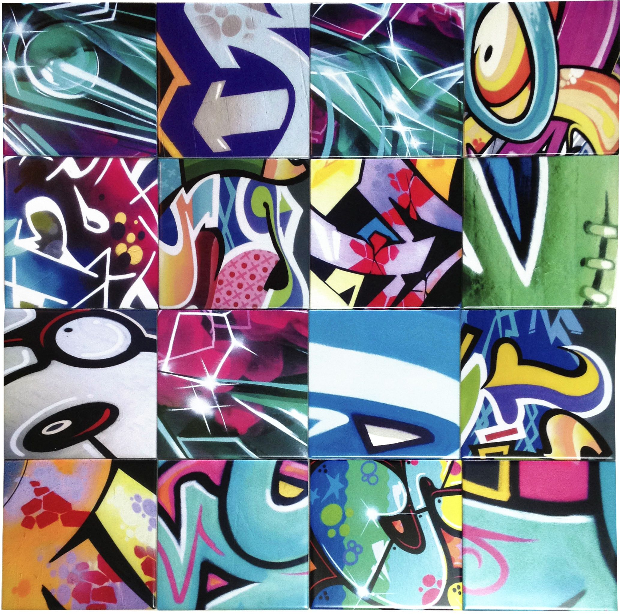 Snippet out of our last order of funky and colourful graffiti graffiti wall tiles and graffiti floor tiles displaying colourful urban street art in its best graffiti tiles create a stunning and unique display in your dailygadgetfo Images