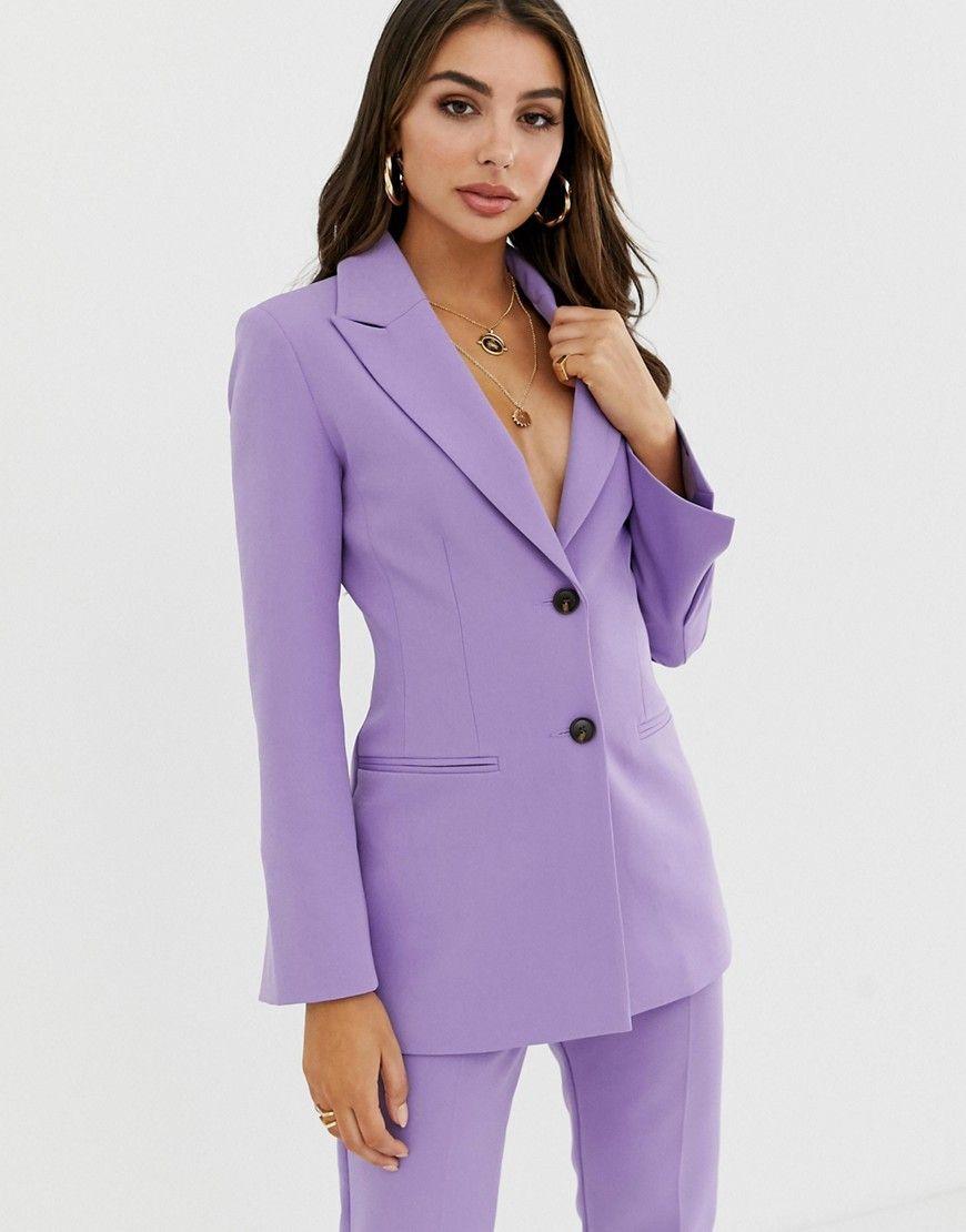 Asos Design Pop Waisted Suit Blazer Trajes De Vestir Mujer Traje Formal Mujer Trajes Elegantes