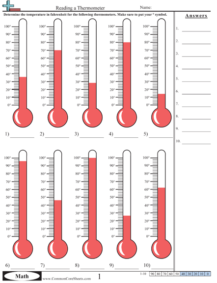 Temperature Worksheets Math Worksheets, Math Measurement, Free Math  Worksheets