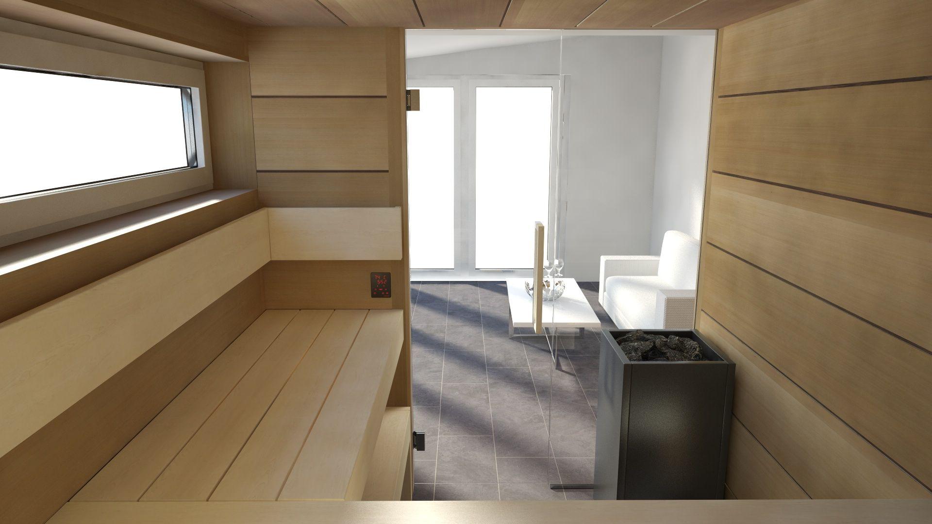 Sauna nach Maß / für Kunden geplant / Bio Sauna / Harvia Ofen ...