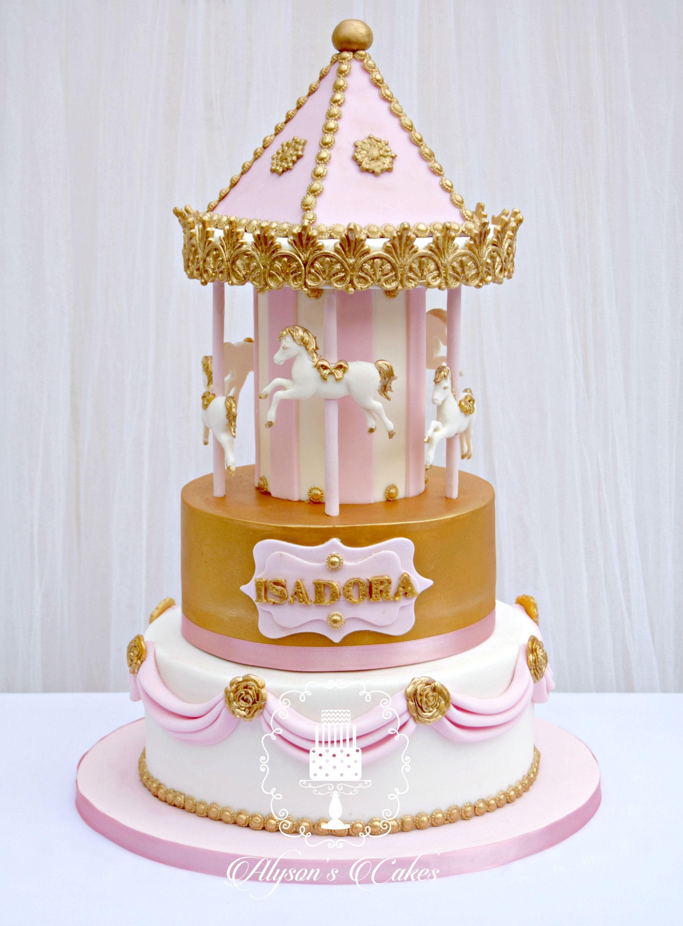Enjoyable Girls Birthday Cake Carousel Cake In Pink And Gold Personalised Birthday Cards Akebfashionlily Jamesorg