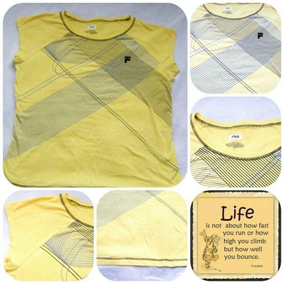 fila yellow top. fila sport moisture wicking yellow top, sz xl fabric (88% polyester, 12% spandex) lightweight. bright yellow, size xlarge. top