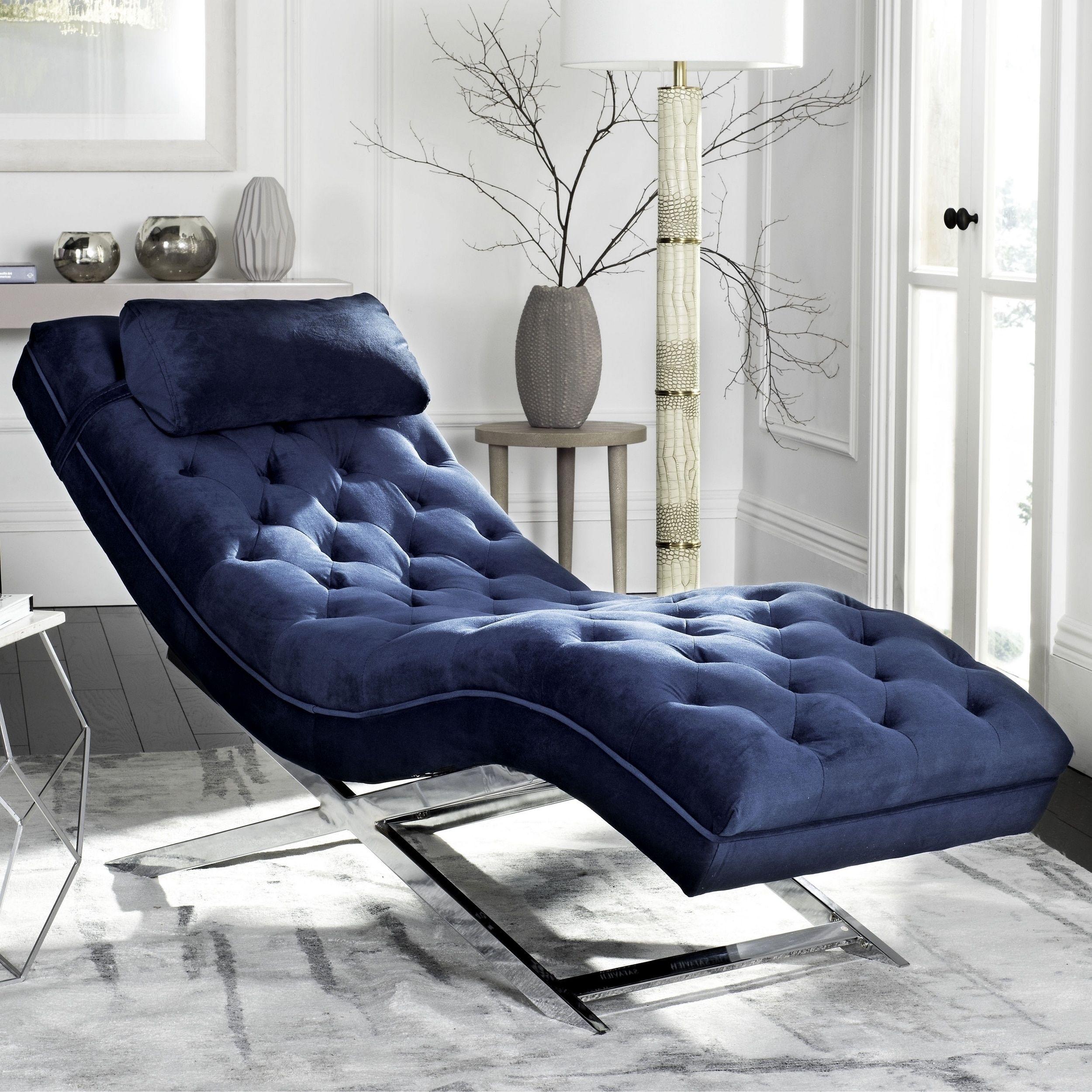 Safavieh Monroe Navy Chaise Chaise Lounge Chair Chaise Lounge Comfortable Chaise