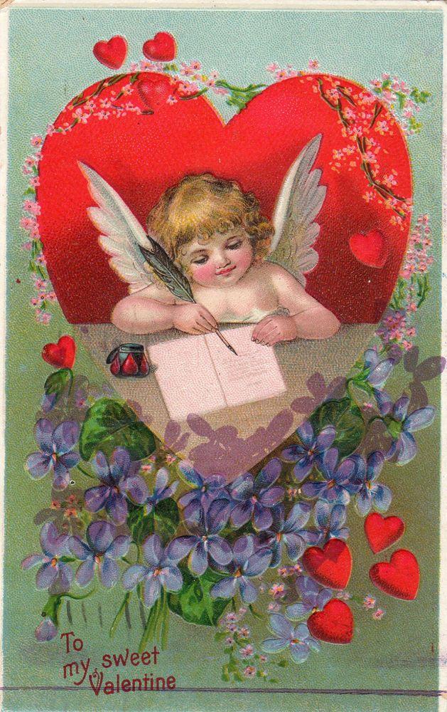 1911 Cupid Valentine Postcard Heart To Heart Vintage