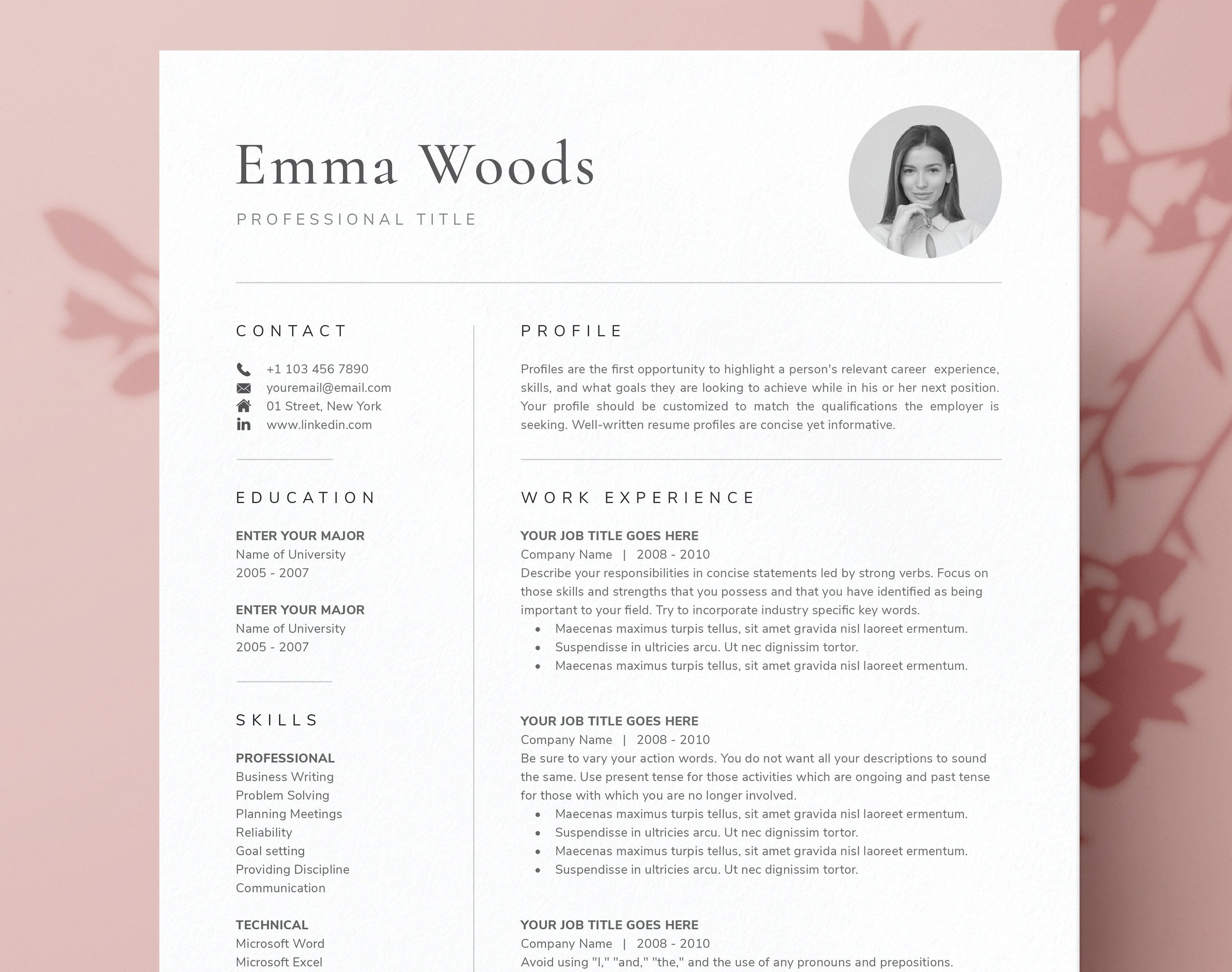 One Page Resume Template With Photo For Word Pages Cover Etsy One Page Resume Template One Page Resume Resume Template Professional