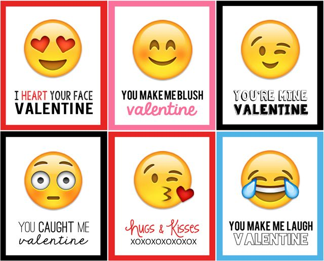 photograph regarding Printable Valentine Cards for Classmates called Emoji Valentines vacation Programs Valentines for young children