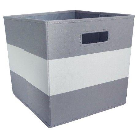 Fabric Cube Toy Storage Bin Gray Stripe Pillowfort Cube