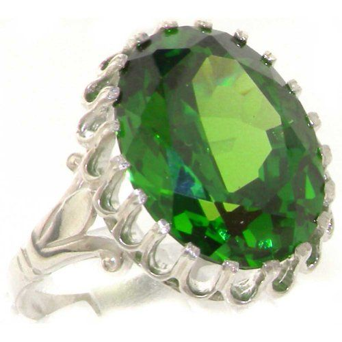 High Quality Solid 9K White Gold Large 16x12mm 16.3ct Synthetic Emerald Solitaire Statement Ring - Size 4.75 - Finger Sizes 4 to 12 Available - Suitable for Child, Girl, Teenager