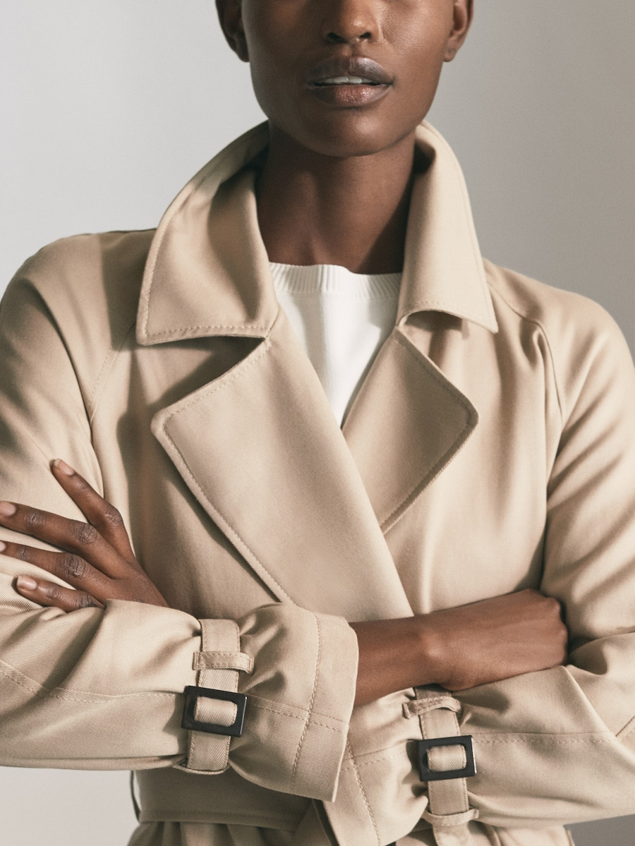 Lyocell Relaxed Trench Coat With Belt Women Massimo Dutti