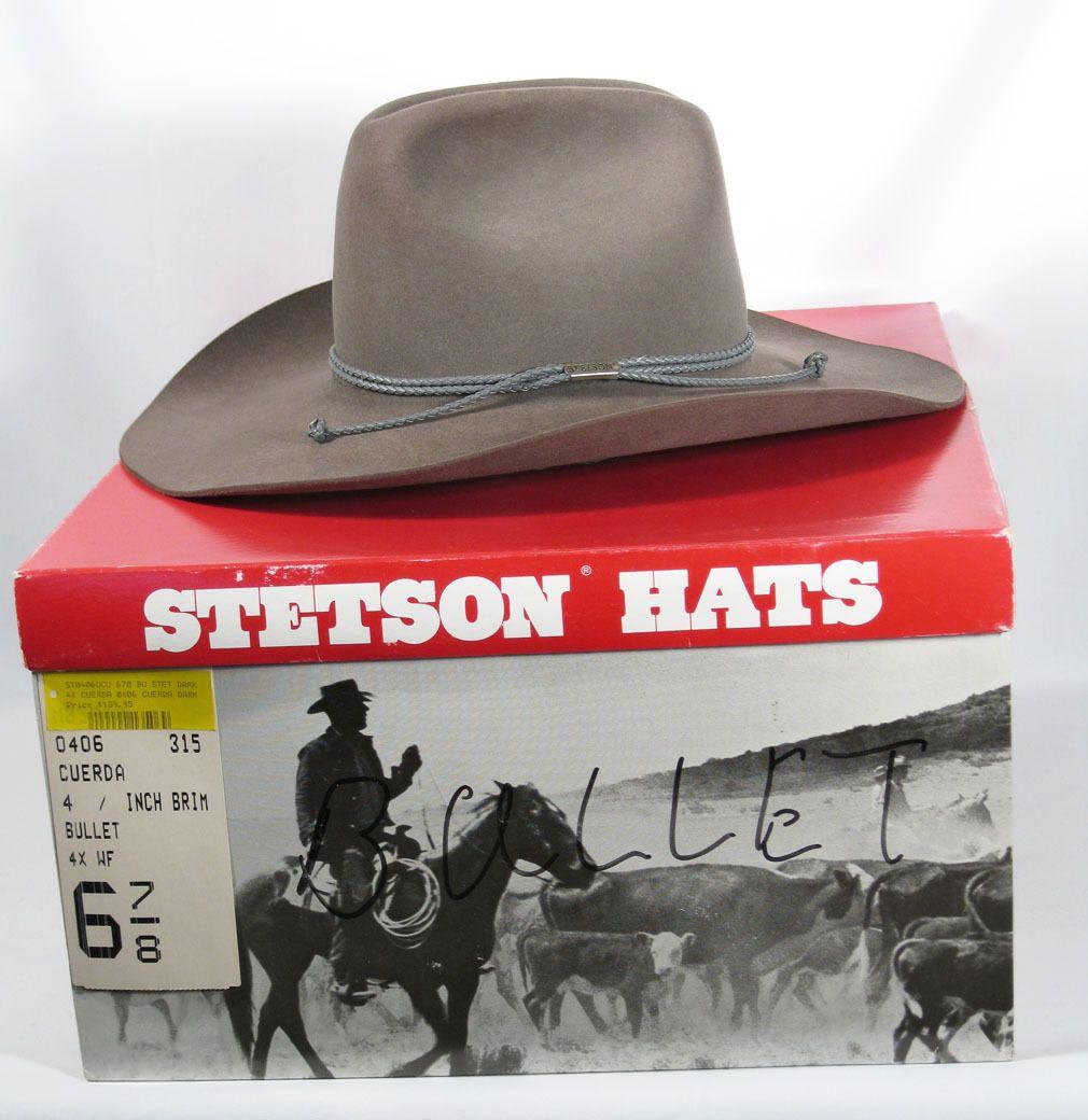 Stetson Cowboy Hat Dark Grey Cuerda NOS w  Box 4X Beaver Fur Felt Bullet Sz  6 7 8 a4722cf096d0