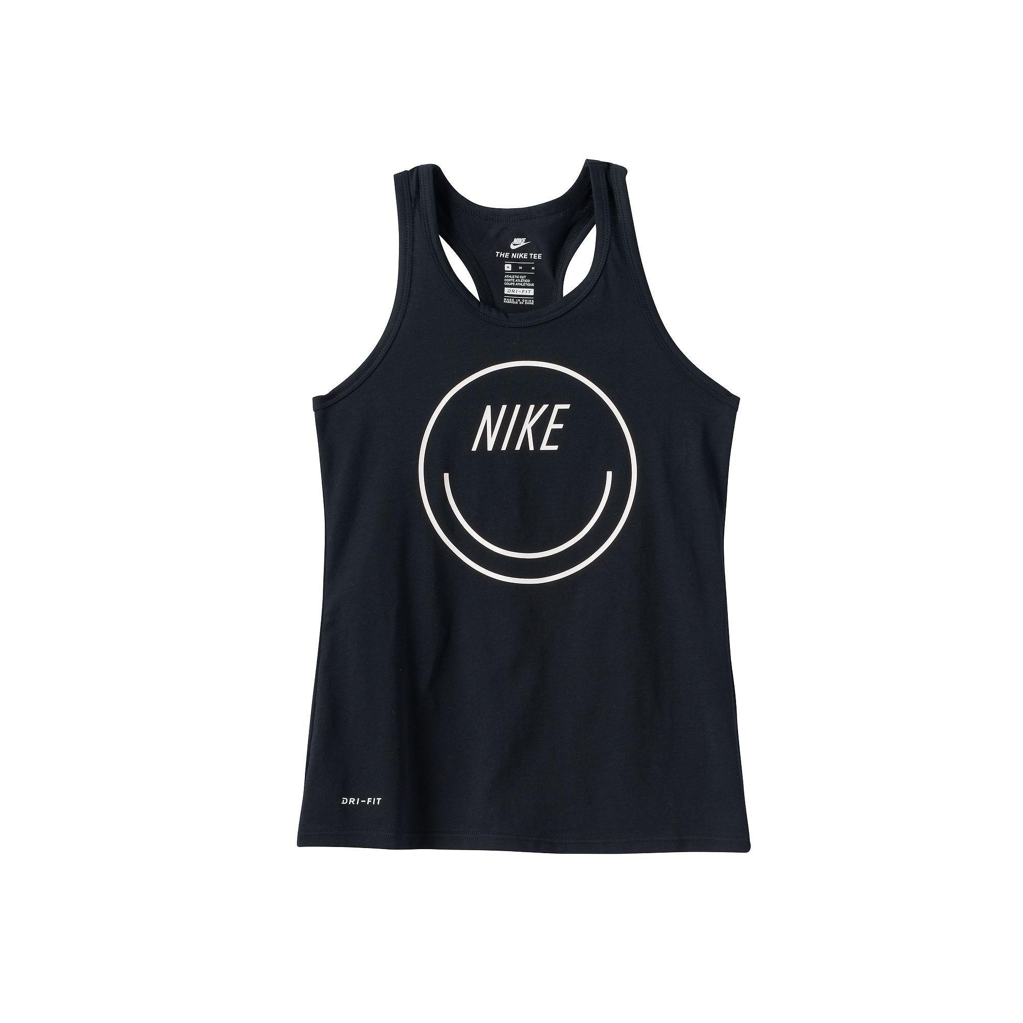 Nike Dry Smiley Big Kids' Tank Tops Black/White