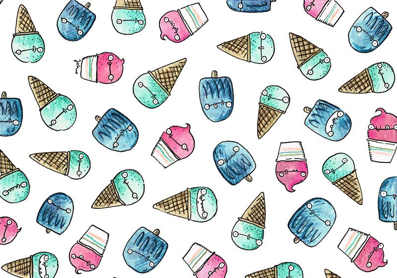 jokosthoughts | Sommer Sonne Eisgenuss Cute summer ice cream pattern - illustrations made with love and wit by Johanna Konopatzky #jokosthoughts #johannakonopatzky #illustration #patternillustration #watercolourillustration #watercolours #cuteart #funart #randomart #summer #icecream #foodillustration #comic