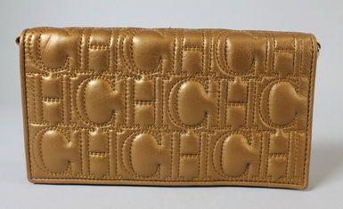Carolina Herrera Bronze Ch Embroidered Clutch Wallet Ebay