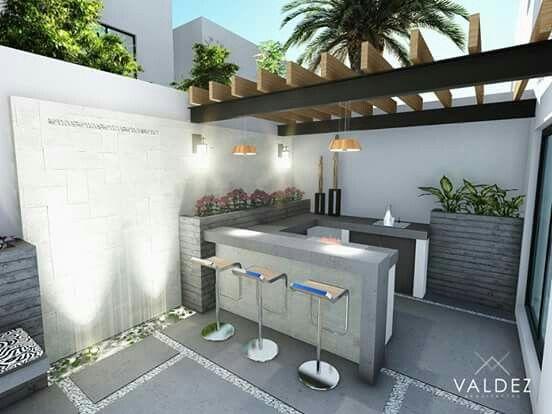 Patio peque o 2 decoraci n afuera pinterest patio for Asador en patio pequeno