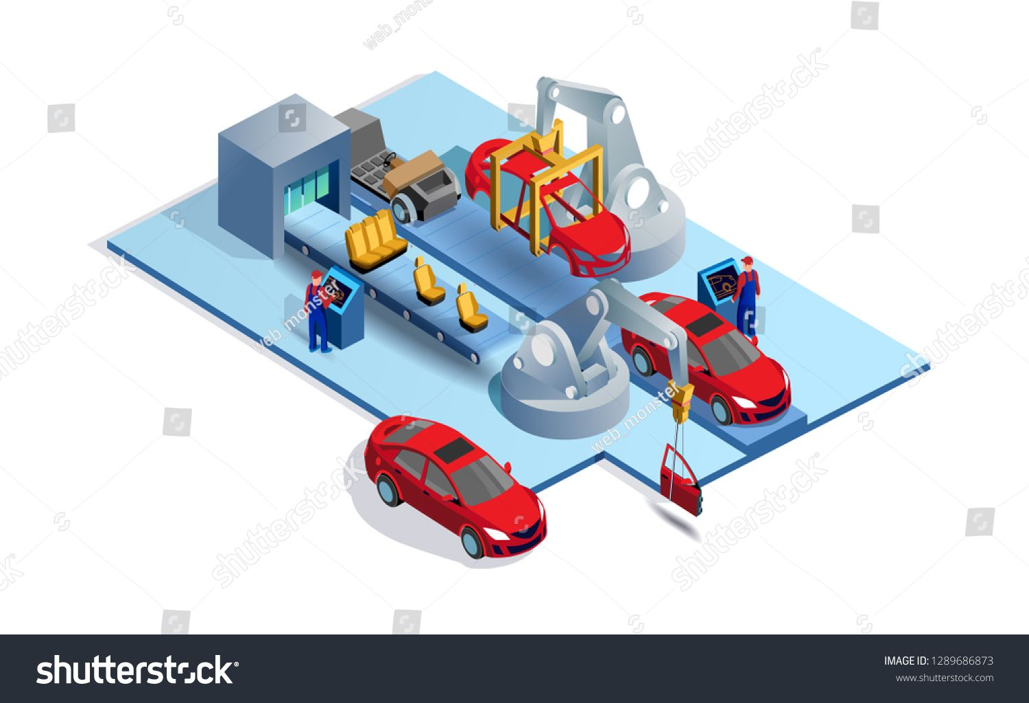Car Factory Automobile Plant Automotive Assembly Line Engineering Systems Automobile Production Line Car Manuf Isometric Illustration Car Vector Automotive