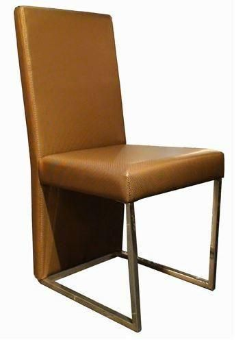 A X 0099 Modern Gold Leatherette Dining Chair Fabric Dining