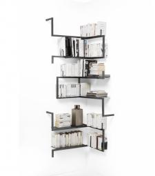 Libreria Angolare.Libreria Angolare In Metallo Satinato Antologia Composizione 1