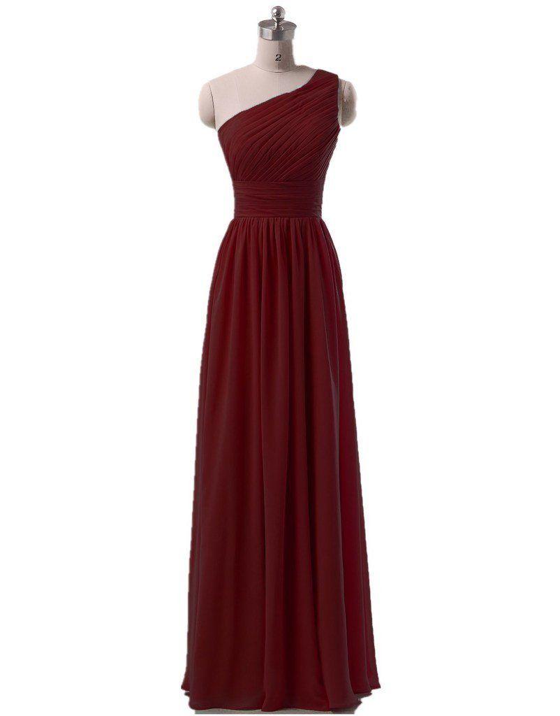 KaiDun Women\'s One Shoulder Chiffon Long Formal Prom Ball Gown ...