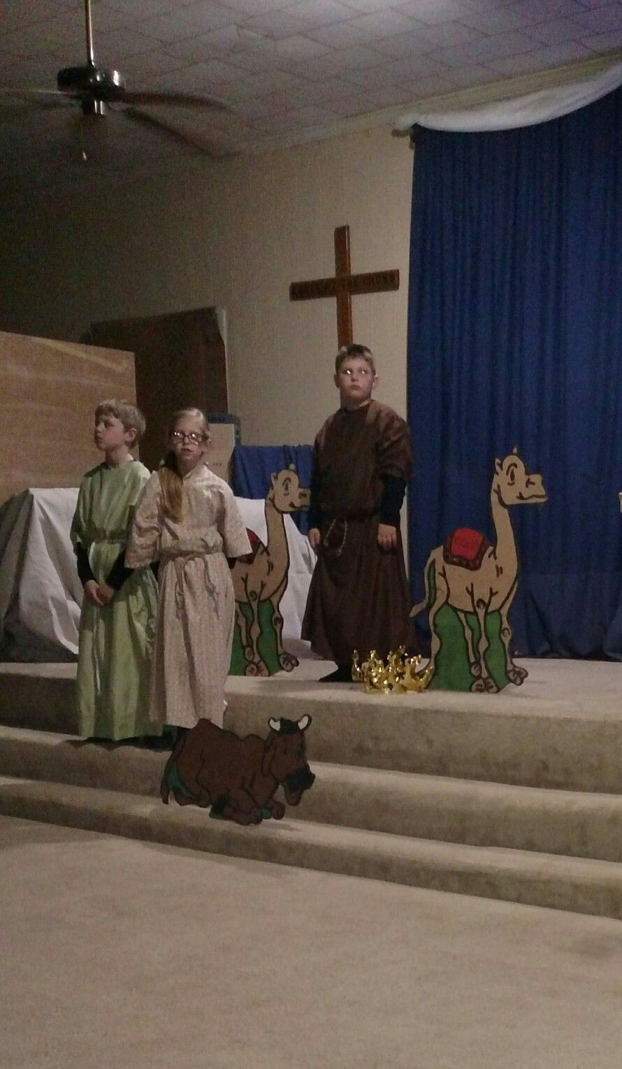 3 Shepherds portrayed by 3 of our youth ( 1 gal & 2 lads )