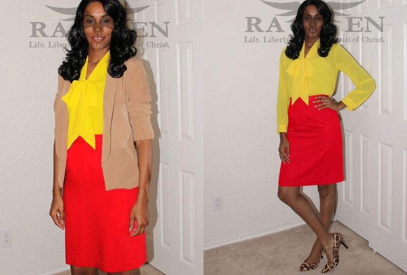 yellow blouse, red pencil skirt, leopard heels
