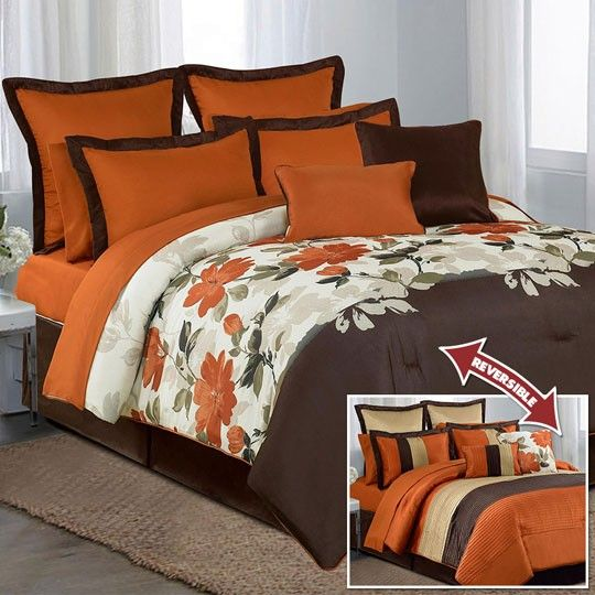 Coral Brown 12 Piece Comforter Set 200 00 Comforters