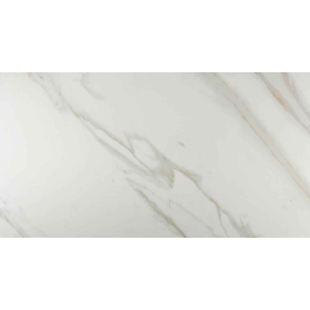Atrium Kios Gris Glazed Porcelain Floor Tile: MSI Calacatta 12 In. X 24 In. Glazed Porcelain Floor And