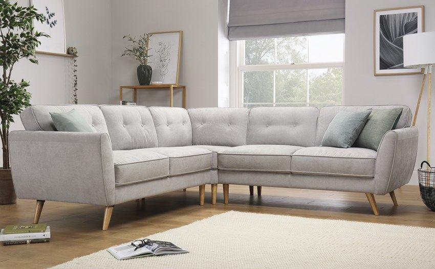 Harlow Dove Grey Plush Fabric Corner Sofa Furniture Choice Leather Corner Sofa Living Room Corner Sofa Living Room Small Spaces Grey Leather Sofa Living Room