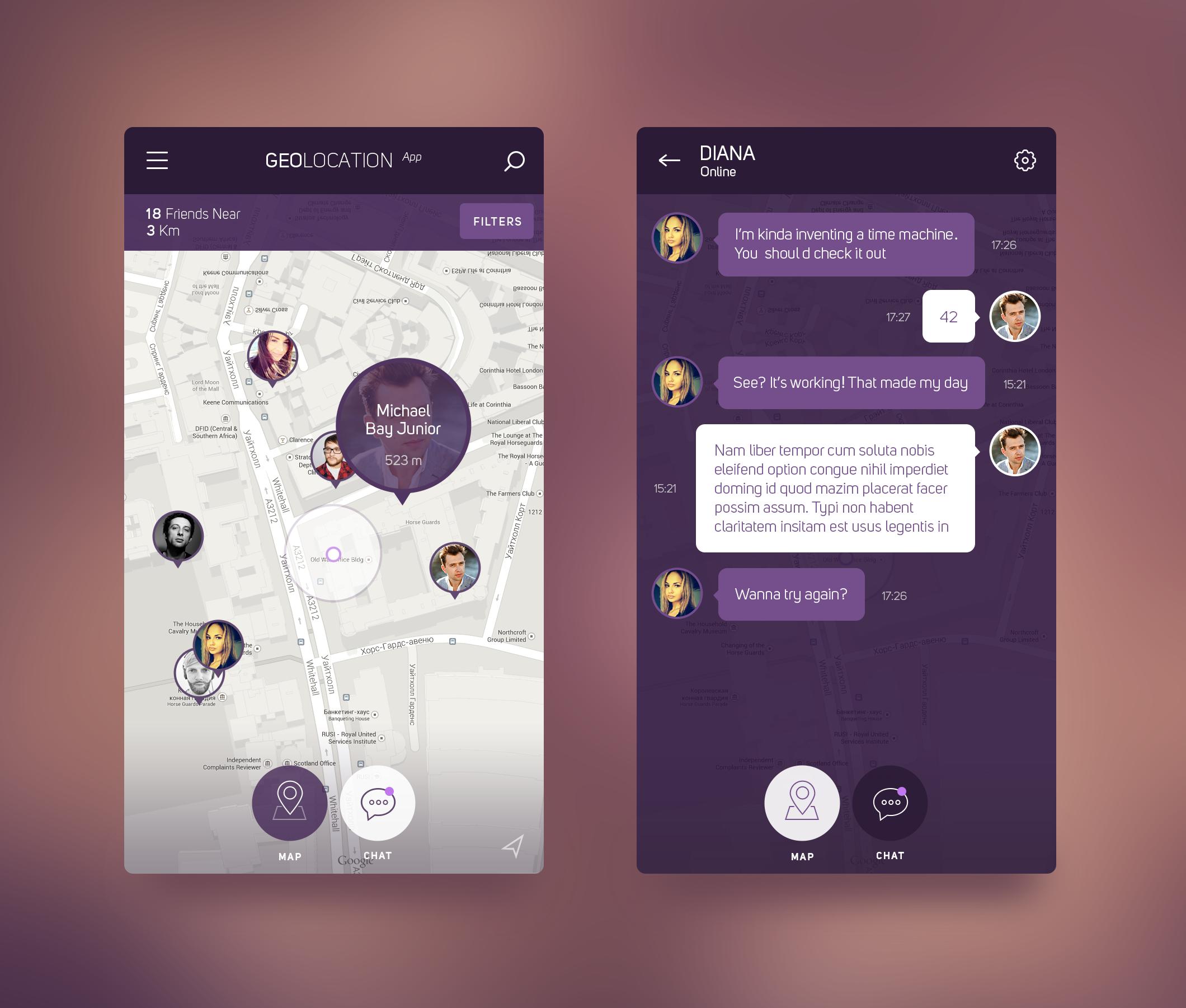 iOS 8 Geolocation App by Konstantin Vorontsov APP DESIGN