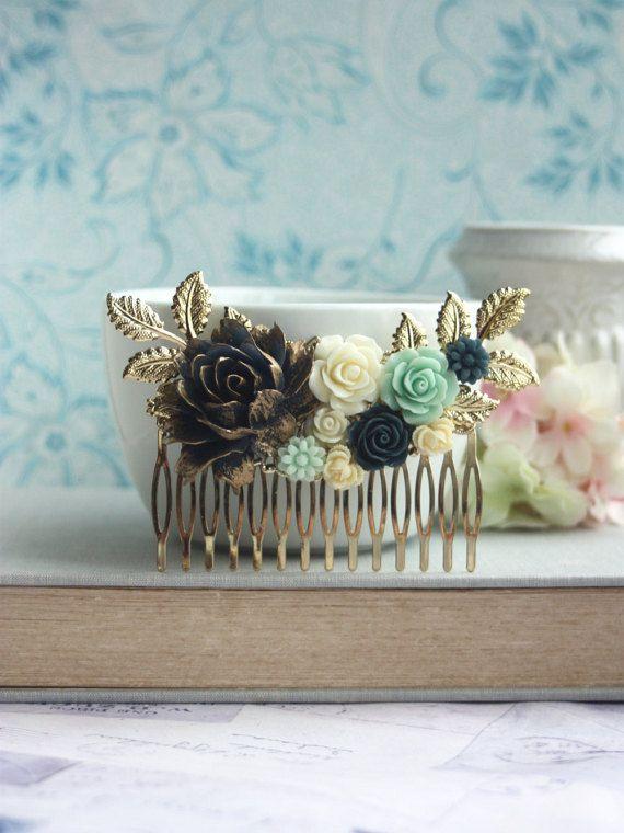 Peigne à cheveux fleur bleu marine bleu foncé bleu par Marolsha