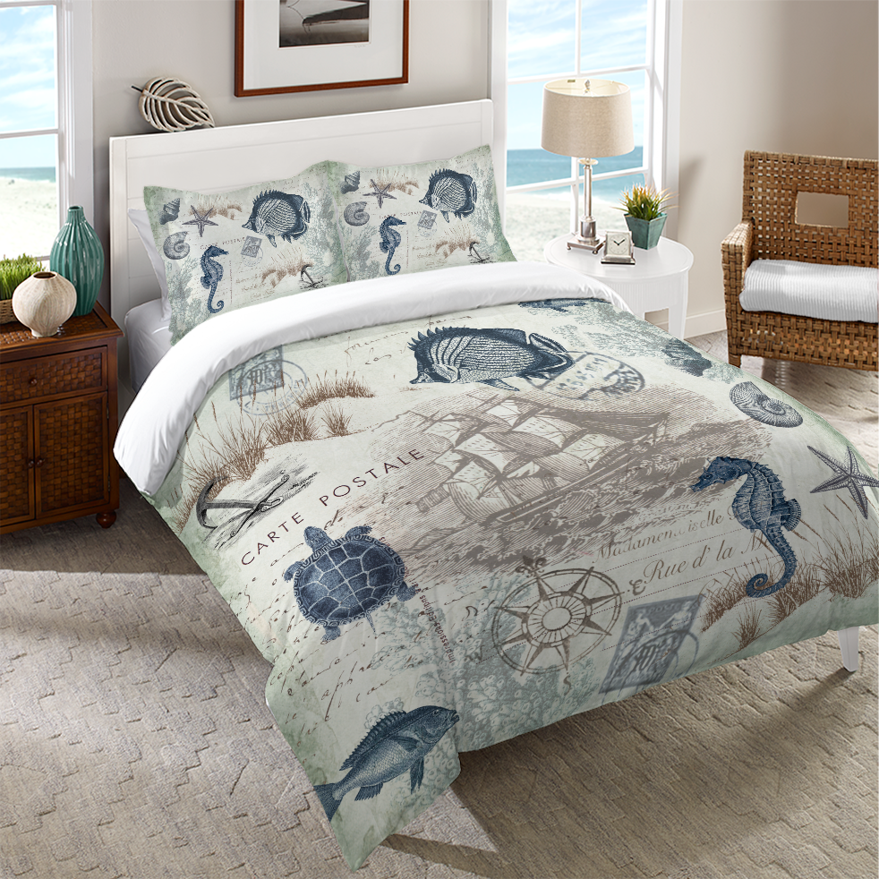 Nautical Bedroom Decor seaside postcard duvet cover | nautical bedroom decor, nautical