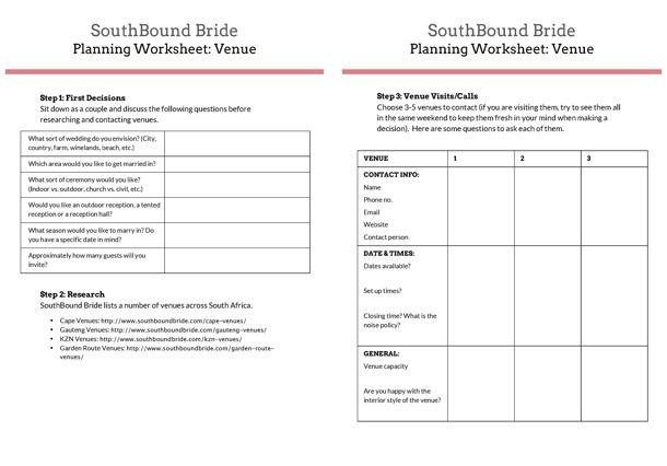 Downloadable Worksheet Venue Planning Wedding Planning Worksheet How To Plan Wedding Planning Details