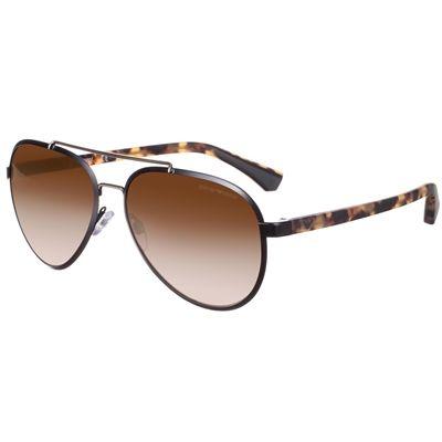 Óculos de Sol Feminino Emporio Armani Aviador Preto Metal - EA2024300113 8800e1a6fe