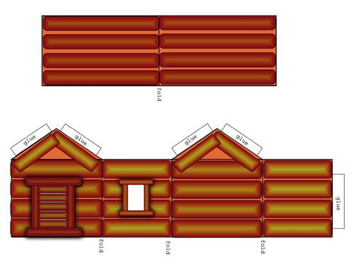 Free Printables Log Cabin To Cut Fold And Build