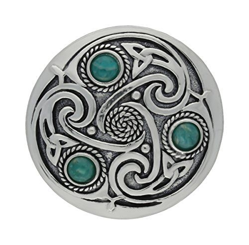Handmade Celtic Triskele 3 Amazonite SemiPrecious Gemstones Pewter Brooch  U003eu003eu003e Details Can Be Found