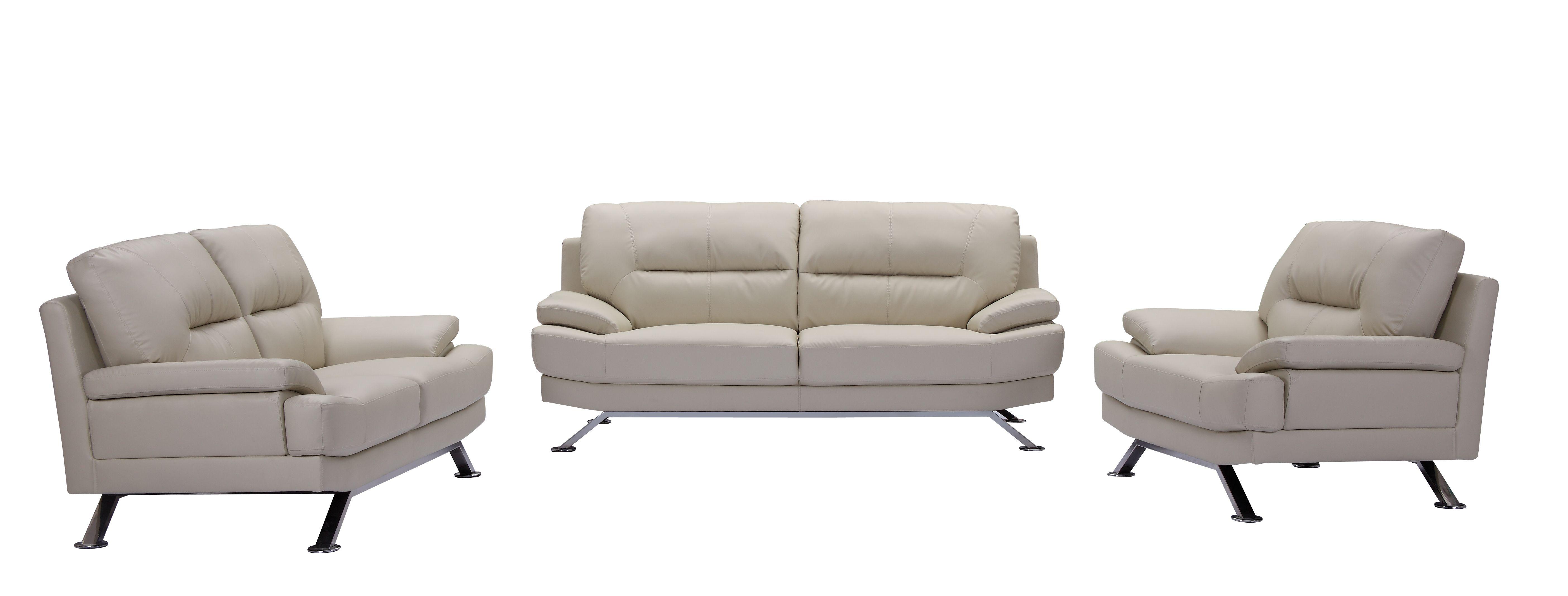 Cream Leather Sofa Set - 3+2+1 Cream Leather Sofa Set