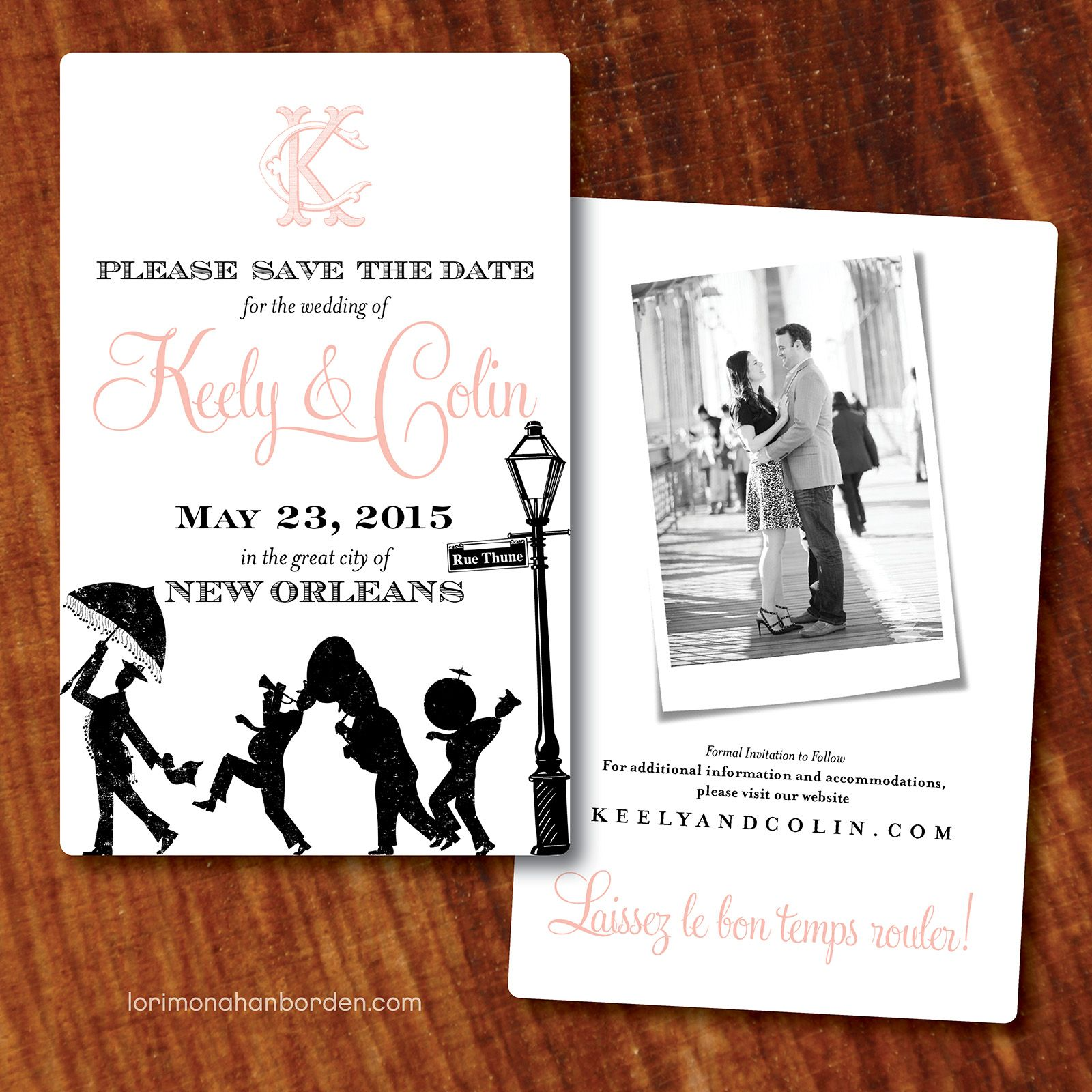 cruise wedding save the date announcement%0A New Orleans Save the Date  lori monahan borden design llc  www lorimonahanborden com