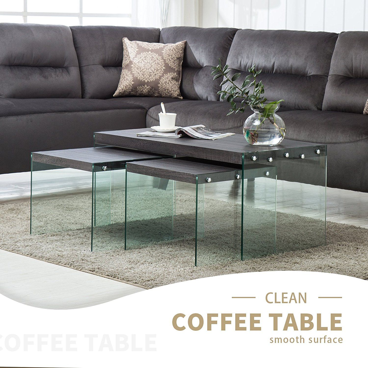 Amazon Com Mecor Set Of 3 Nesting Table Side End Coffee Table Wood Top Tempered Glass Legs Living R Coffee Table Black Furniture Living Room Living Room Table [ 1500 x 1500 Pixel ]