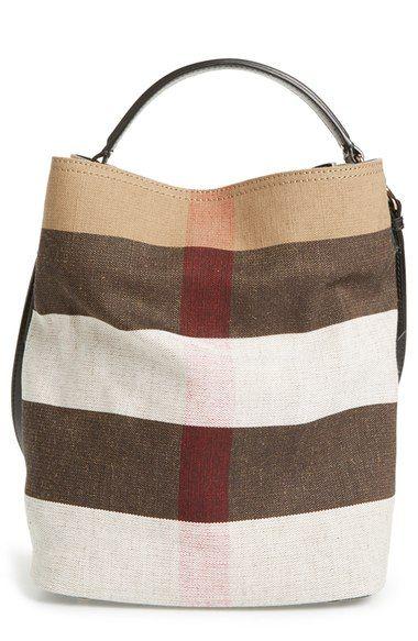 Burberry  Medium Susanna - Mega Check  Jute   Cotton Bucket Bag available  at  Nordstrom 49ced5aaf09ec