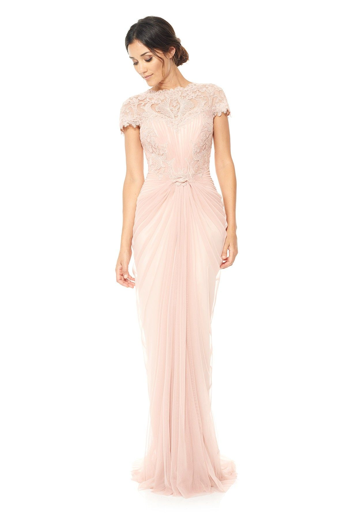 corded lace and draped tulle gown tadashi shoji wedding