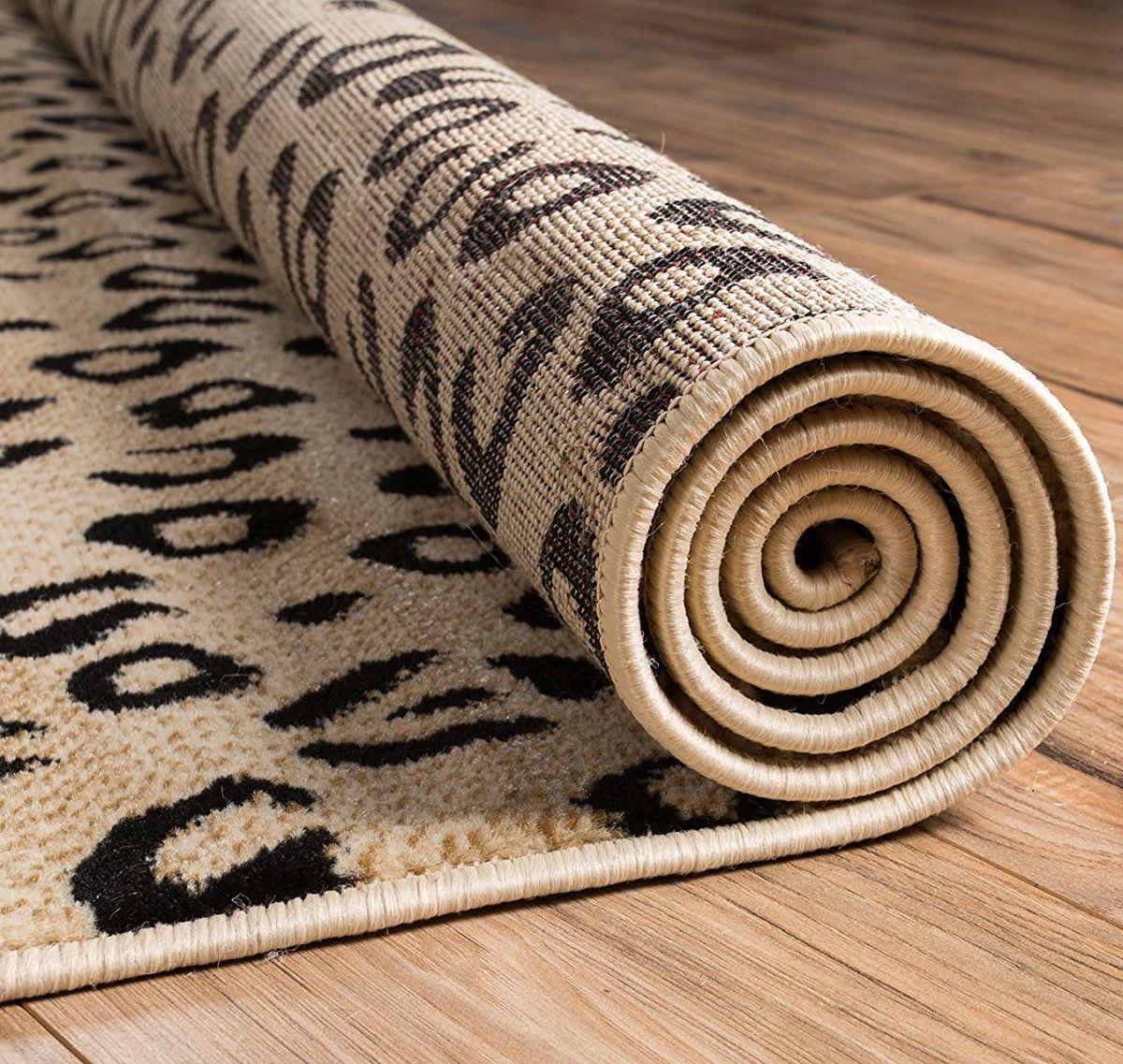 Black Ivory Animal Print Area Rug