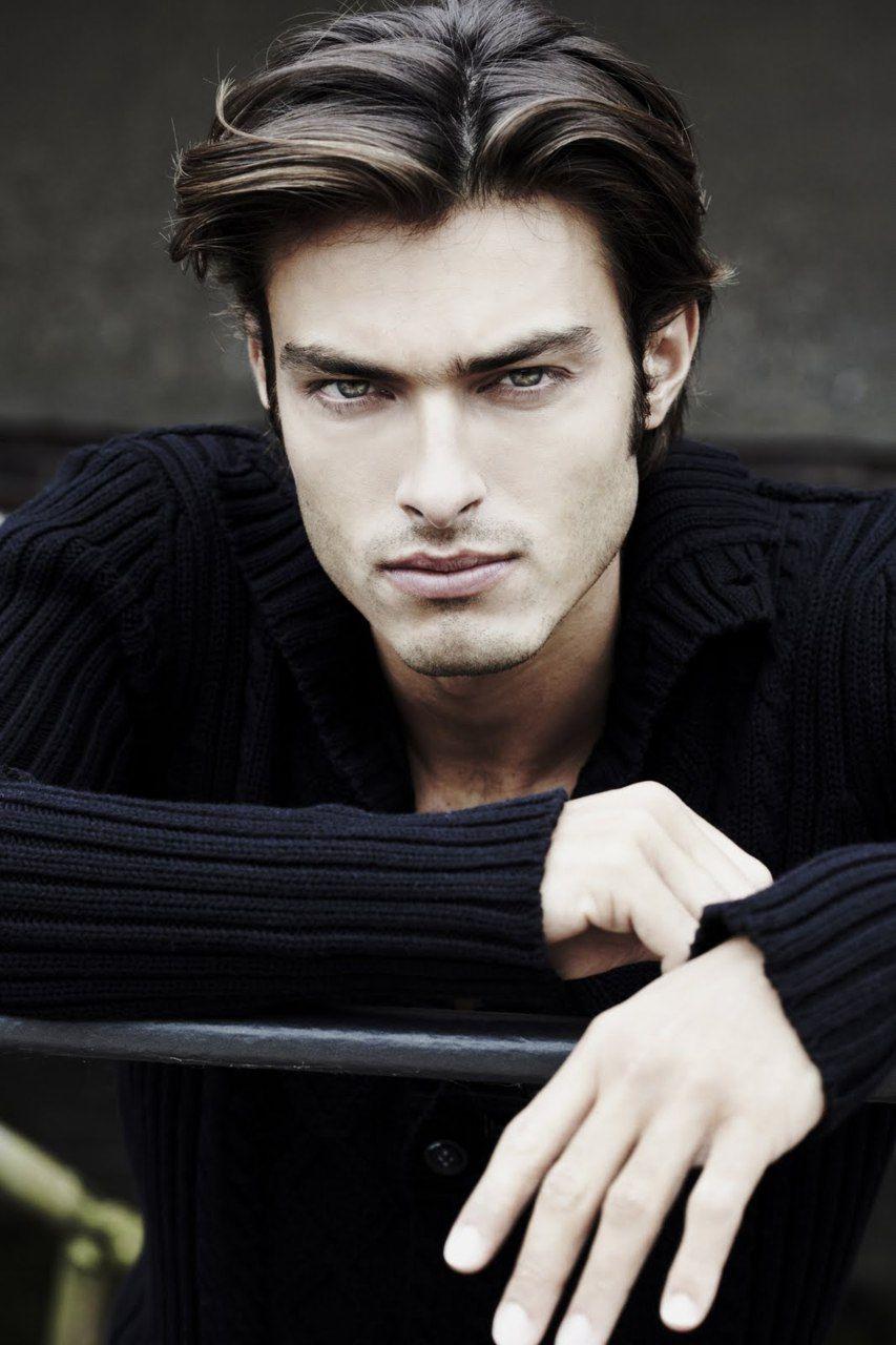 Hot mens haircuts sexy hunk with beautiful eyes wearing a stylish black sweater