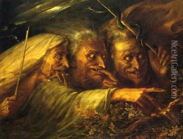 The Three Witches From Macbeth Oil Painting Alexandre Marie Colin