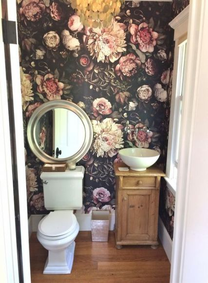 53 Most Fabulous Traditional Style Bathroom Designs Ever: 64 Trendy Bathroom Wallpaper Dark Floral Wallpapers