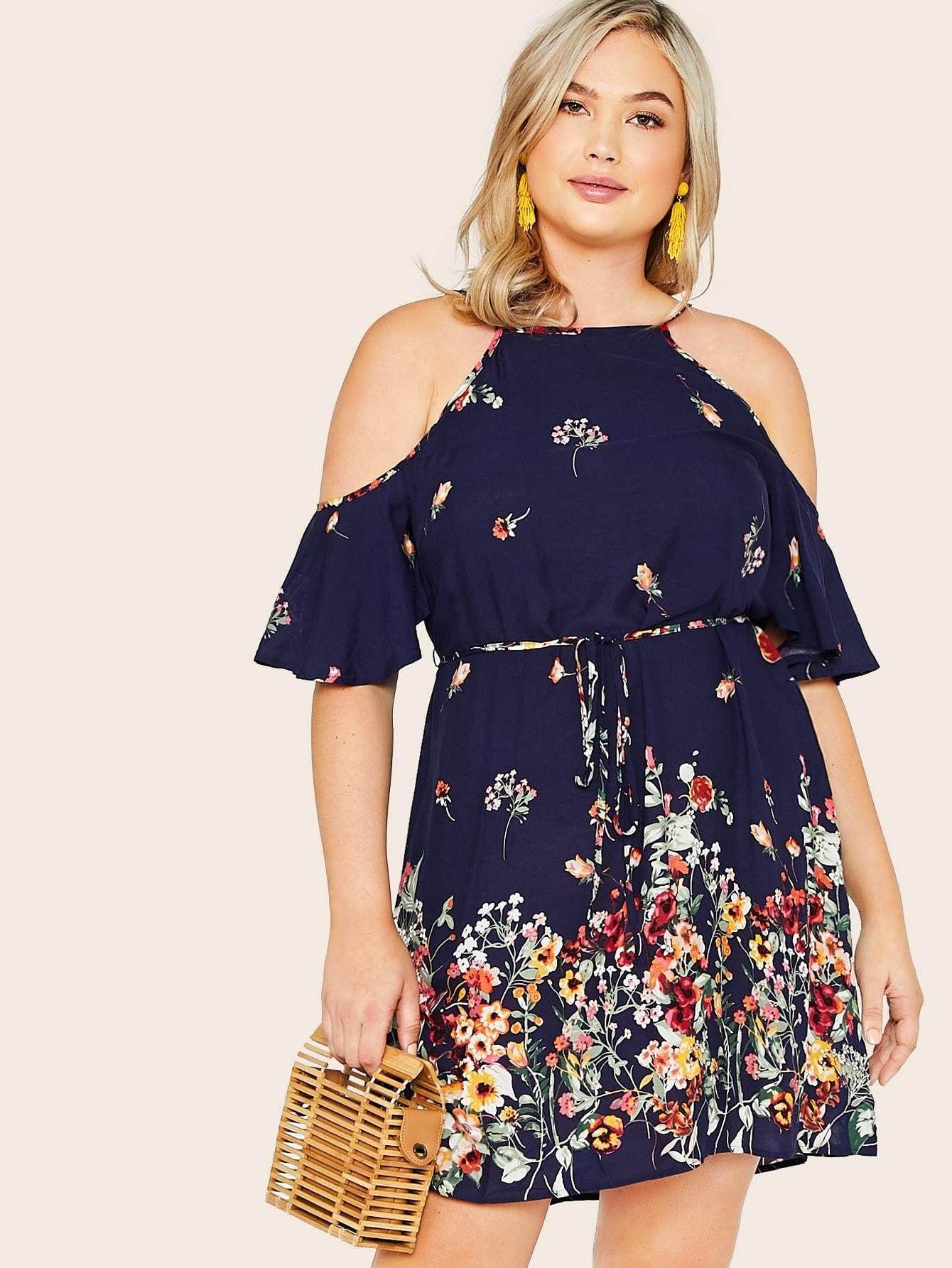Plus Floral Print Cold Shoulder Belted Halter Dress