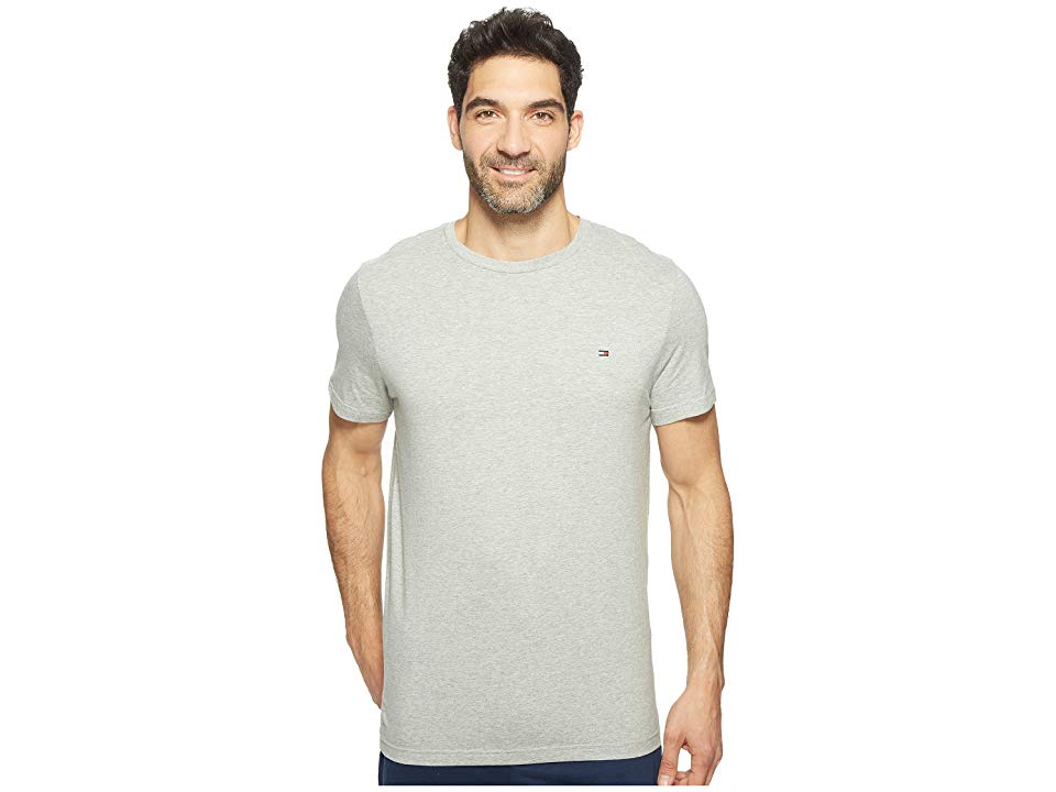 Tommy Hilfiger Organic Rib Cotton Long Sleeve T Shirt in White crew neck tee