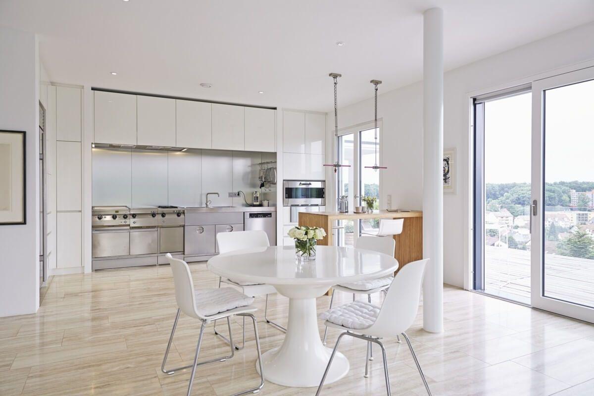 Fantastisch Offene Küche Modern Weiß Mit Esszimmer   Küchen Ideen Einrichtung Interior  Design Bauhaus Stadtvilla Barrierefrei Von