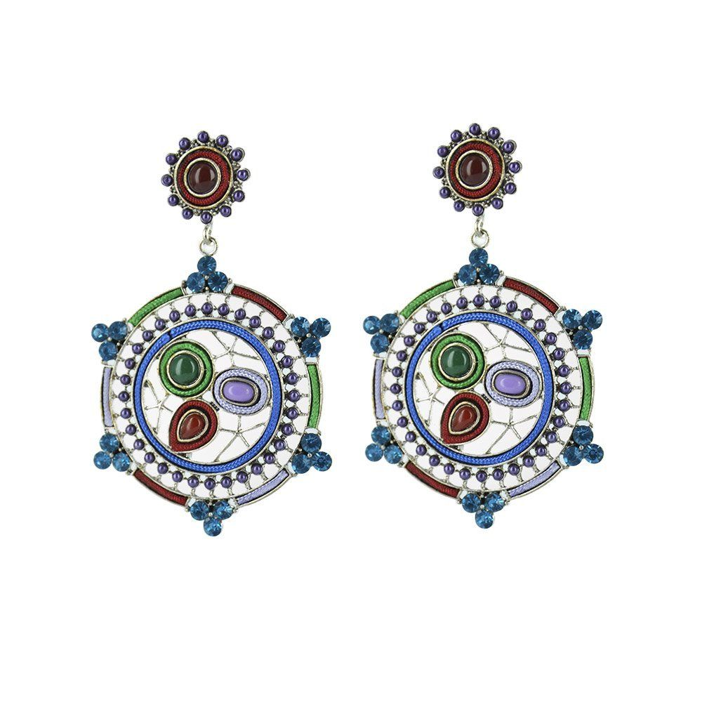 Twinkle metal with application earrings hexagon colorful burgundy twinkle metal with application earrings hexagon colorful burgundy chandelier metal arubaitofo Choice Image