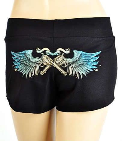 CRYSTAL GUNS ANGEL WINGS TATTOO BLACK CASUAL LOUNGE SHORTS PANTS MINI SHORTS #LAStreetCouture #CasualShorts